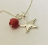 Sterling Silver Star pendant with Swarovski Crystal Sterling Silver chain 18""